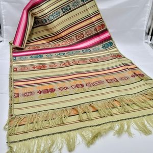 Vintage wool blend fringed table runner tapestry